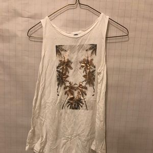White and gold palm tree tank top